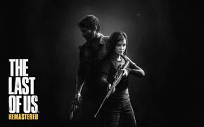 мужчина, винтовка, Джоэл, револьвер, борода, тьма, прицел, фонарик, девочка, защитник, лого, рюкзак, взгляд, Одни из нас, Элли, оружие