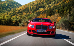 No., trees, Bentley, road, LIGHTS, hood, machine, red, Front, forest