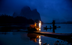 FISHING, Boat, cormorants, China, Yangtze, night, fishermen, river