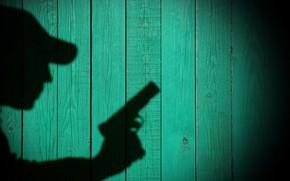 Que, obvio, Con, querer, perfil, expone, silueta, Detective, Detective, sombra, Pared, en, TEXTURA, no ven, ver, fondo, ¿Qué, revelar, arma, ver