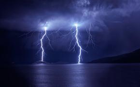 горы, молния, тучи, гроза, небо, озеро