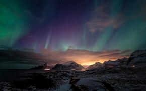 northern lights, ocean, glow, snow, Mountains, night