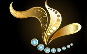 темный фон, камешки, золотая бабочка