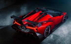 Supercar, SPOILER, Lamborghini, rosso, Lamborghini, roadster, veneno