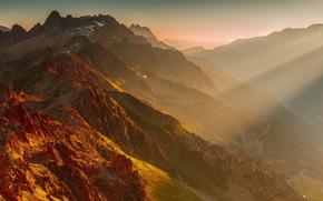morning, Mountains, landscape