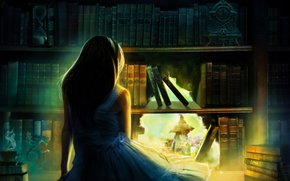 Art, watch, HOLE, hair, back, blue dress, bookcase, Books, girl, hourglass, figurine, shoulders, light