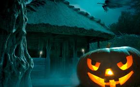 тыква, страх, ведьма, Хэллоуин, ночь, полнолуние