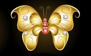 темный фон, золотая бабочка, камешки