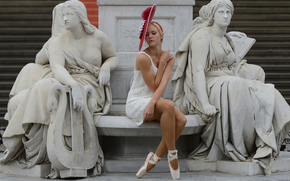 stylishly, cap, Sculpture, Statues, ballerina