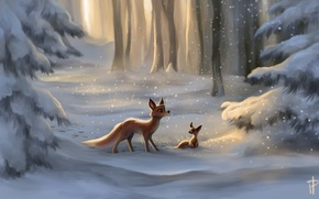 painted landscape, snow, Art, pup, Christmas trees, fox