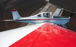 翼, 高度, 视图, 机, 飞行员