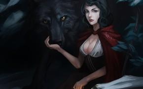 Red Riding Hood, Art, lupo, lanterna, ragazza, mantello