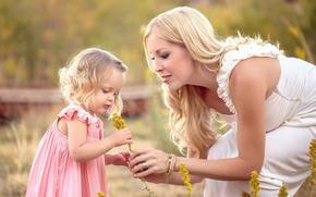 семья, любовь, девочка, мама, цветы