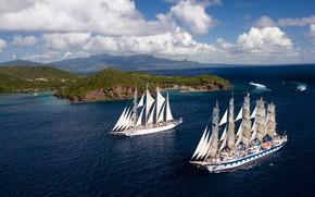 barche a vela, natura, mare, HORIZON, foto, navi, isola