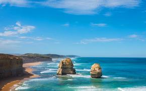 romper, mar, rock, costa, cielo, naturaleza, océano, nubes