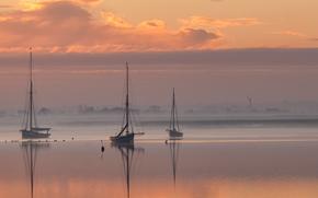 небо, отлив, лодки, вечер, залив, природа, закат, облака, гавань, море