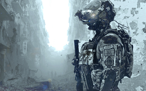 солдат, шлем, развалины, костюм