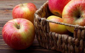 red, fullscreen, basket, wallpaper, apples, apple, Widescreen, background, Widescreen, food