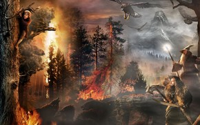 Bilbo, Gandalf, fire, An Unexpected Journey, Eagles, Wargs, Wolves, trees, The Hobbit, Torin