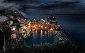 Liguria, Italy, home, sea, Rocks, lights, sky, city, light, Manarola, Boat, night, Star