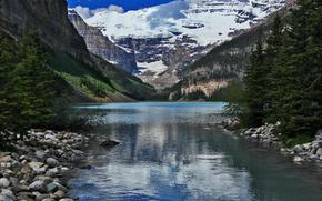 Lake Louise, lago, Montañas, árboles, paisaje