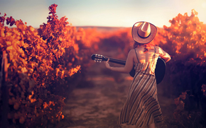 hat, girl, guitar, vineyard