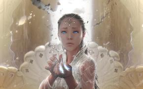 Tears, The Neverending Story, girl, magic, Art, Fantasy, ornamentation, hands