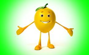 улыбка, лимон, фон