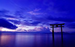 cielo, puerta, Japón, Torii, océano, paisaje, nubes