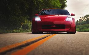 красный, ниссан, перед, Nissan, дорога