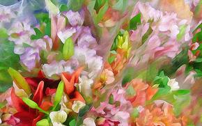 лепестки, листья, клумба, луг, рисунок, цветы, вектор, рендеринг