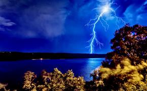 молния, Нью-Джерси, буря, река, ночь, Гудзон