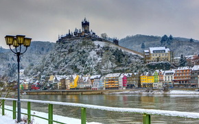 зима, замок, крепость, река, дома, снег, фонари, Германия