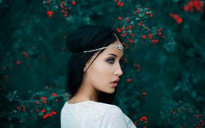 профиль, макияж, ягоды, портрет, боке, украшение