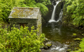 England, waterfall, hut, bush, river