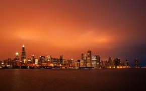 вечер, закат, небо, небоскребы, Чикаго, мегаполис