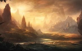 вода, пейзаж, скалы, закат, замок, человек, арт, крепость, путник, долина