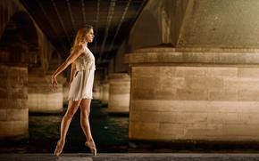 ダンス, ドレス, ポアント, 橋, バレリーナ, 優美