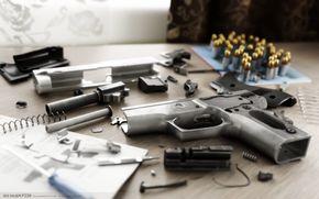 detalhes, pistola, arma, Rendering
