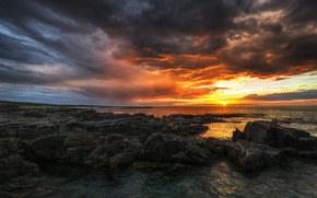 пляж, море, камни, Ирландия, закат, графство Донегол