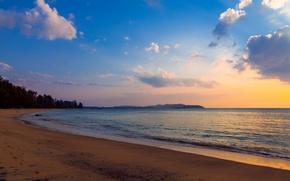 вечер, прибой, облака, пляж