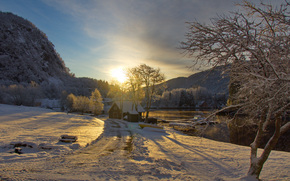 road, sun, cabin, trees, clouds, river, BOAT, Mountains, sky, sunset, snow, winter, boat