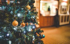 Capodanno, Palloncini, ornamentazione, abete, vacanza