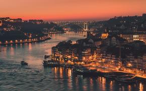 мост, огни, город, Порту, река, канал, вечер, Португалия