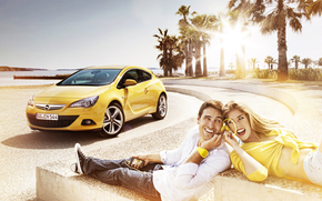 people, sun, summer, girl, joy, sea, headphones, emotions, couple, yellow, Relax, palm, Music, Opel, guy, smile, shore