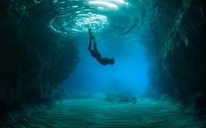 скалы, дно, подводный мир, человек, океан