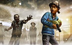 Survivors, Clementine, visualizzare, zombie, arma, situazione