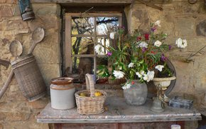 tavolo, Cestini, vaso, Fiori, ecc