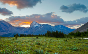 Fish Lakes, Banff National Park, sunset, Mountains, field, lake, landscape