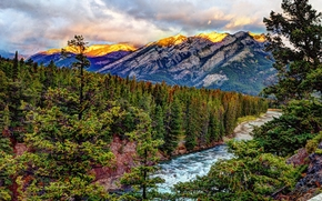 sunrise, Banff Springs, Mountains, river, trees, landscape